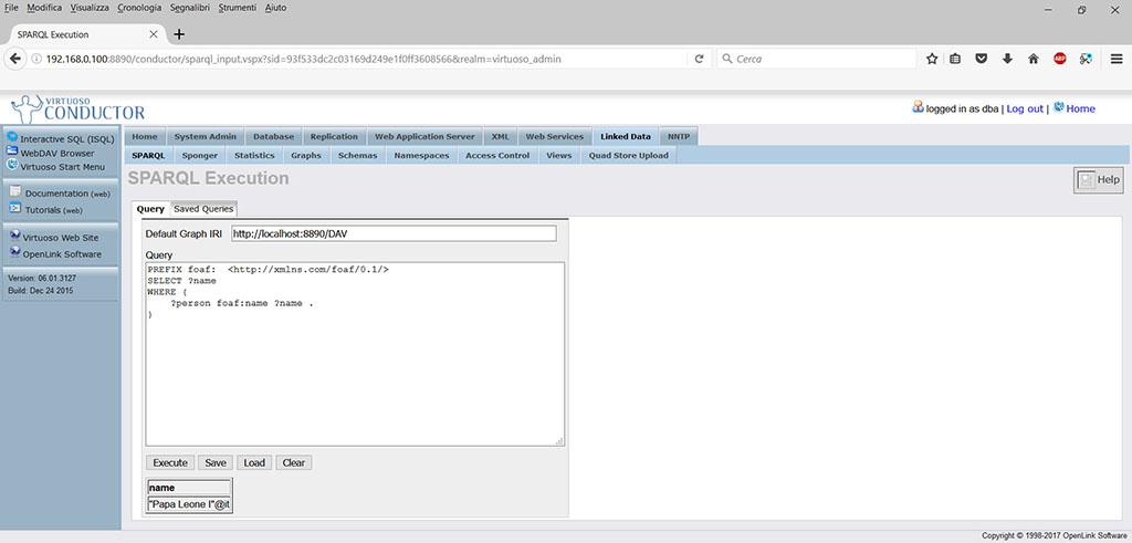 OpenLink Virtuoso query SPARQL - Fontistoriche