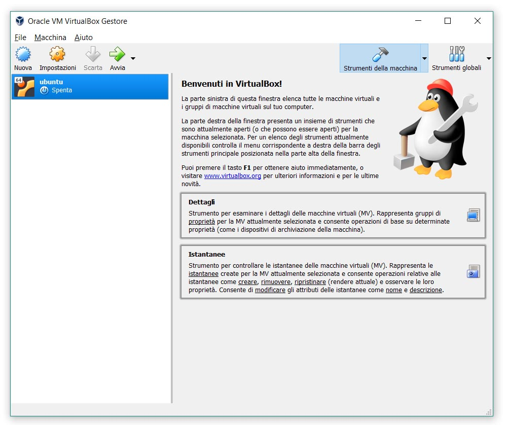Macchina Virtuale, configurazione, step 1