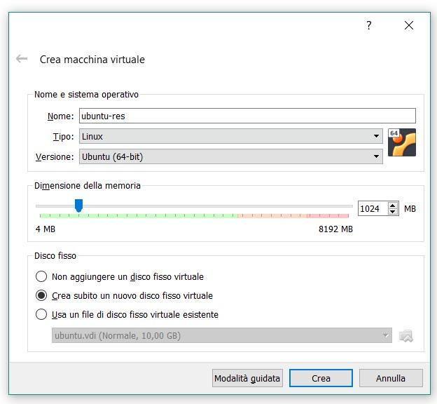 Macchina Virtuale, configurazione, step 2