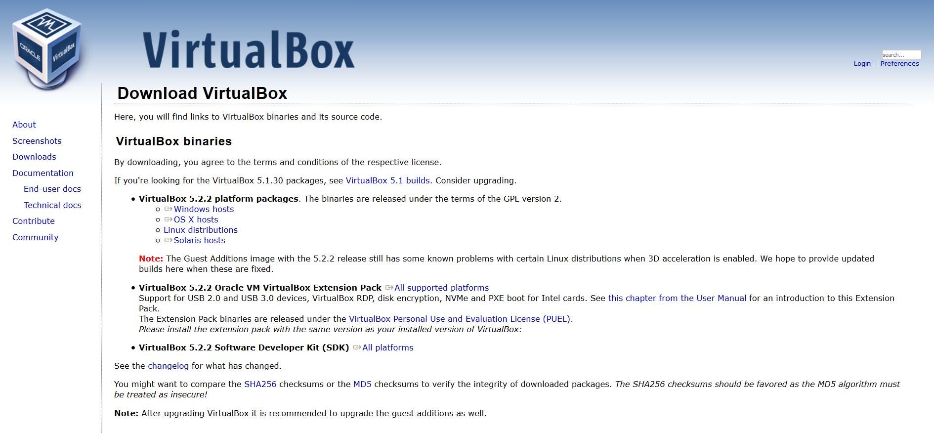 Macchina Virtuale, download VirtualBox